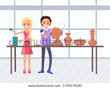 Smiling man and woman sculptors making bust, vase and bowl, colorful cat. Craftsman holding chisel, creative shape, professional artisan, education vector