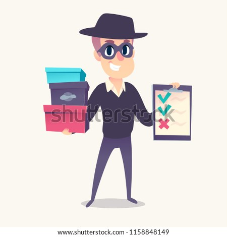 Smiling man as mystery shopper in mask and spy hat, with purchase boxes and cheklist in hands. Vector illustration.
