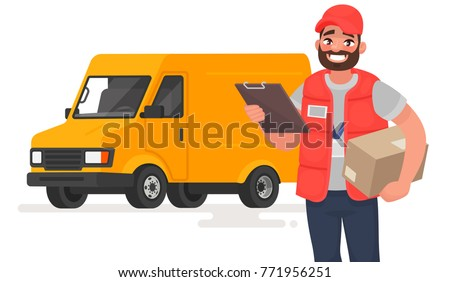Smiling man courier with parcel on the background of a lorry. Vector illustration in cartoon style