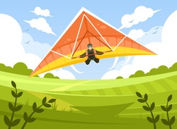 Smiling man flying on hang-glider. Sportsman on hang gliding competitions. Man gliding on delta-plane in the sky