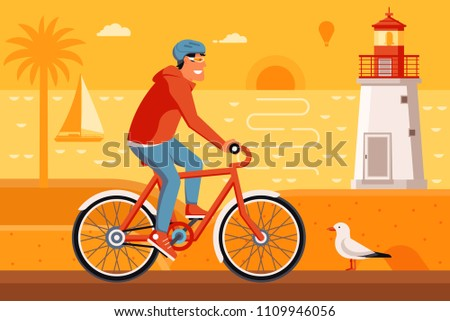 smiling man on bicycle driving