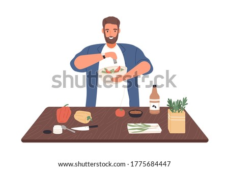 Smiling man on diet cook vegetable salad on kitchen table vector flat illustration. Male apply salt to vegetarian healthy food isolated on white. Guy preparing dinner or lunch with spices and herbs