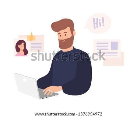 Smiling man sitting at computer and using dating website to chat or searching for girlfriend on internet. Cute bearded guy trying to find romantic partner online. Flat cartoon vector illustration.