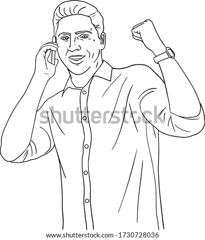 Smiling man talking on the phone, the man smiles and speaks on the phone, sketch