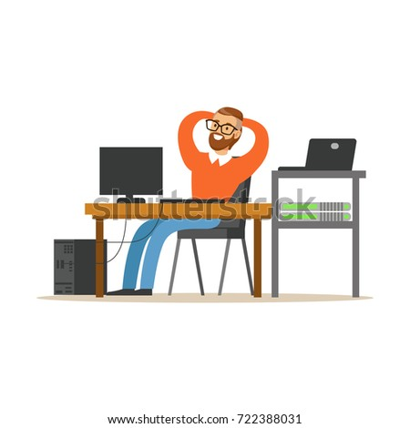 Smiling man working on the computer in the office, network engineer administrator working at his workplace vector illustration