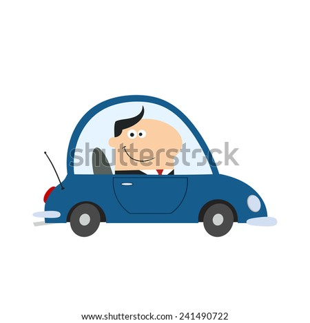 smiling manager driving car to