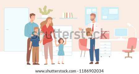 Smiling mother, father and children came to physician's office, clinic or hospital. Visit to family doctor or meeting with medical adviser. Colorful vector illustration in flat cartoon style.