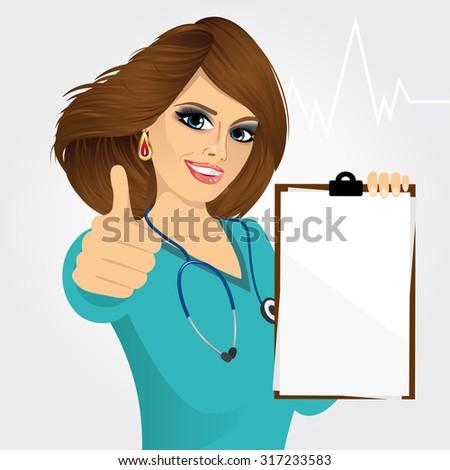 smiling nurse or female doctor