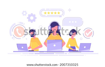 Smiling office operators with headsets characters. Customer service, hotline operators, technical  global support, customer support department staff. Modern vector illustration.