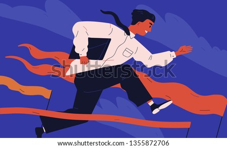 Smiling office worker or clerk jumping over barrier. Concept of person overcoming obstacles, withstanding adverse conditions and winning professional competition. Modern flat vector illustration.