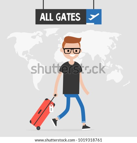 Smiling passenger walking by the airport with a hand luggage. Travel illustration. All gates sign. Flight. Flat vector, clip art