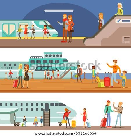 smiling people boarding