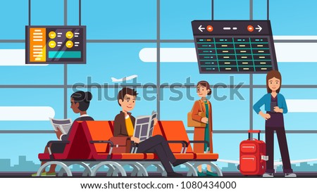 Smiling people sitting and standing in airport arrival waiting room or departure lounge with chairs and information panels. Terminal hall with big airport window. Flat vector illustration