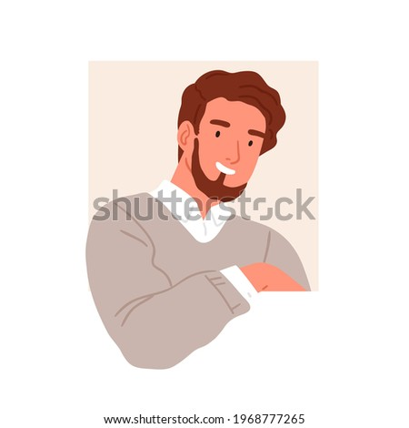 Smiling person peeping and peeking out of window. Happy friendly man looking outside square hole. Curious human watching. Curiosity concept. Flat vector illustration isolated on white background