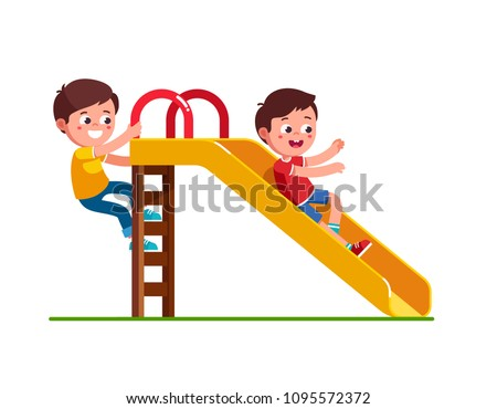 Smiling preschool boy sliding down slide and happy friend climbing up ladder. Kids playing together on playground. Children cartoon characters. Flat vector illustration on white background