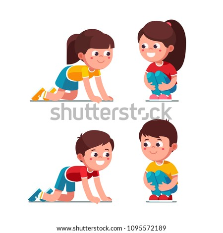 Smiling preschool boys and girls squatting on haunches and crawling on knees activity. Kids playing together. Children cartoon characters set. Flat vector illustration isolated on white background