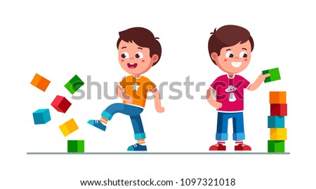 Smiling preschool boys kids building tower of toy cubes and breaking it. Kids playing with toy cube blocks tower. Children cartoon boys characters. Flat vector illustration isolated on white
