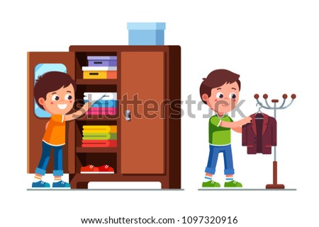 Smiling preschool boys kids taking clothes out of closet shelf and hanging suit jacket on floor hanger stand. Child cartoon characters. Childhood & kids preschool development. Flat vector illustration
