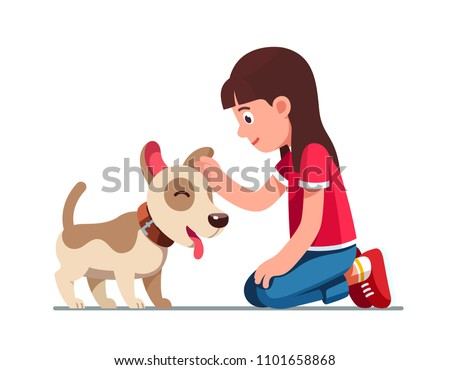 Smiling preschool girl kid sitting on ground and patting happy dog. Kid with adorable pet dog puppy. Child petting domestic animal. Flat style vector illustration isolated on white background