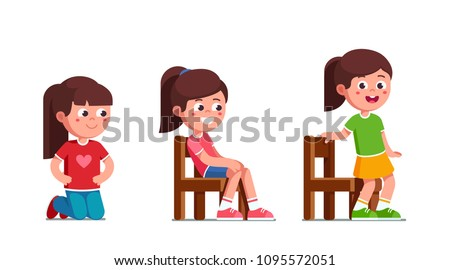 Smiling preschool girls standing on knees, sitting and standing up from chair activity. Happy  child cartoon characters set. Flat vector illustration isolated on white background