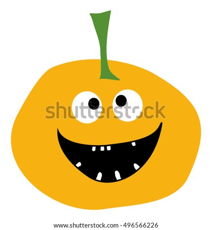 smiling pumpkin on a white