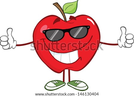 Smiling Red Apple Character With Sunglasses Giving A Thumb Up. Vector Illustration
