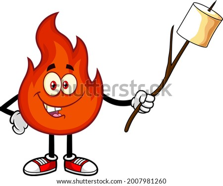 Smiling Red Fire Cartoon Character Holds А Stick With Roasted Marshmallow. Vector Hand Drawn Illustration Isolated On Transparent Background Сток-фото ©