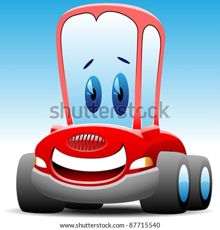 smiling red toy car