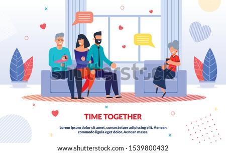 smiling relatives spending time