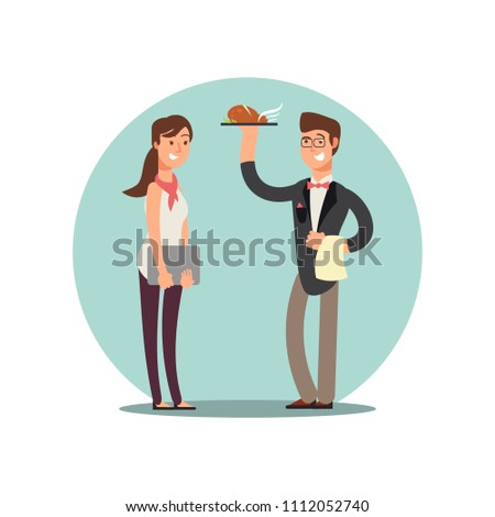Smiling restaurant staff in kitchen uniform vector cartoon characters icon isolated on white illustration