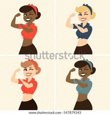 Smiling retro pin-up woman in white shirt, we can do it, afro american woman vector illustration