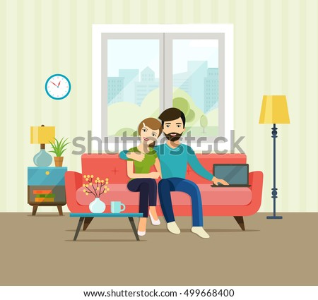 smiling romantic couple at home