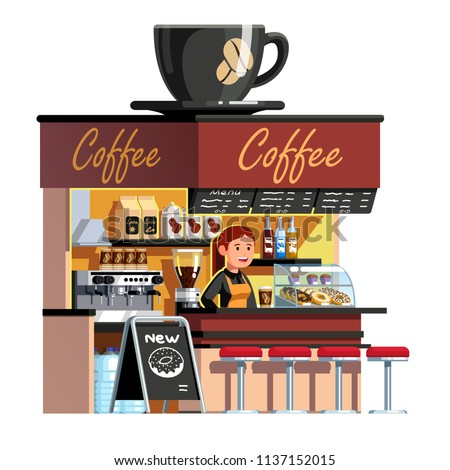 Smiling sales clerk woman at coffee shop service counter. Cafe kiosk with coffee machine, showcase, menu. Big cup on roof. Cafe or shop concept. Flat vector illustration isolated on white