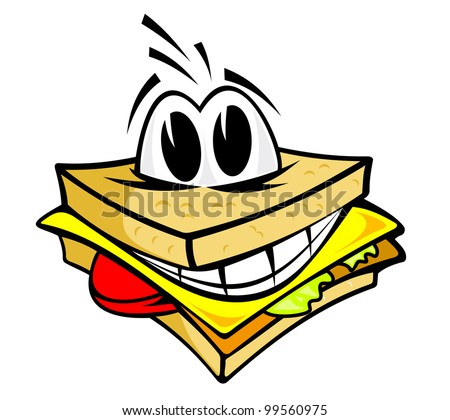 Smiling sandwich with cheese, salad and meat for fast food design, such  a logo. Jpeg version also available in gallery