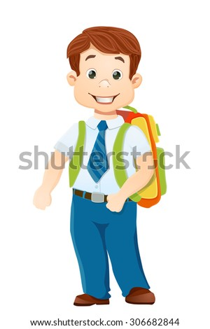 smiling school boy with