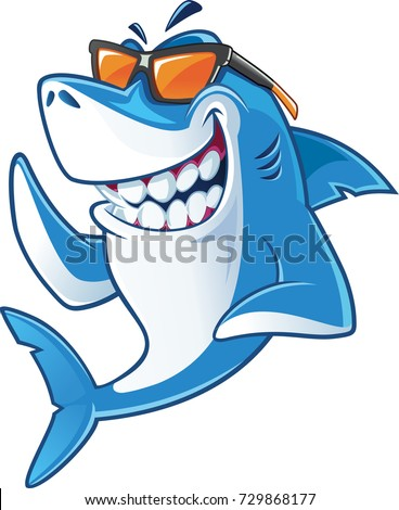 smiling  shark cartoon mascot
