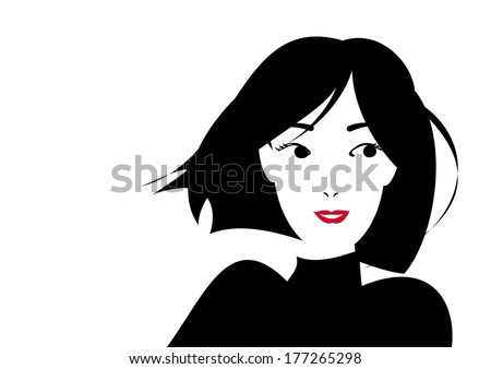 smiling short haired woman - stock vector