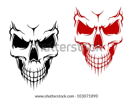 smiling skull in black and red