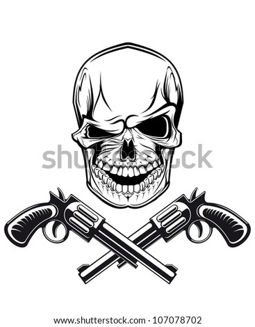 Smiling skull with revolvers for tattoo design Jpeg version also available in gallery