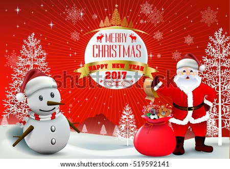 smiling snowman and santa clause high detailed vector illustration happy merry christmas and happy