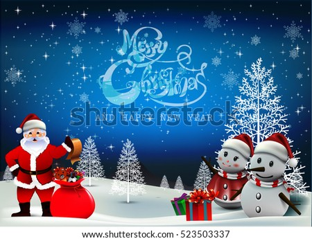 smiling snowman and santa clause high detailed vector illustration happy merry christmas and happy new year companions ez canvas