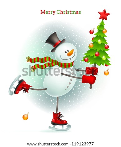 smiling snowman with christmas