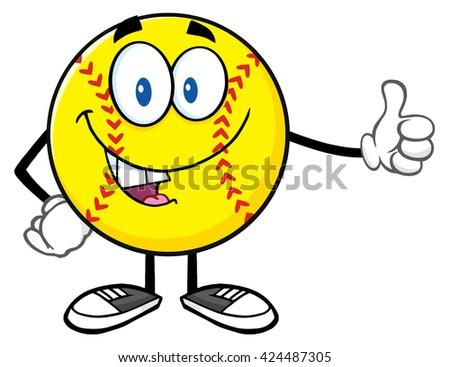 smiling softball cartoon mascot