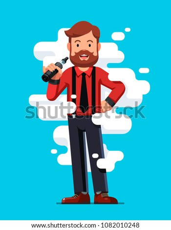 Smiling standing bearded hipster man holding vape or vaporizer and vaping with steam cloud around. Middle aged vaper. Vaping smoking alternative. Vape concept. Flat vector isolated illustration