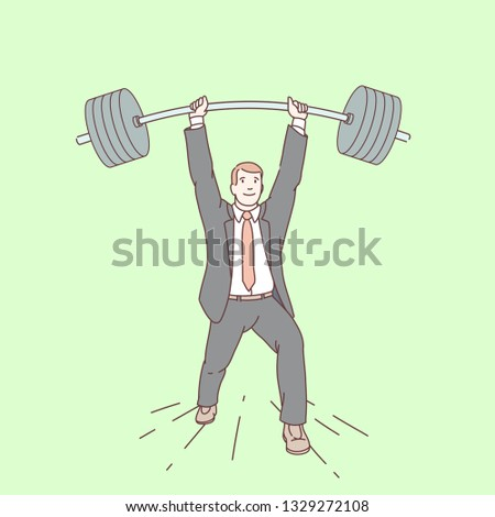 Smiling strong business man lifting barbell up. Successful businessman weightlifter holding heavy weight. Career goal achievement, success, overcoming challenge concept. Flat line vector illustration