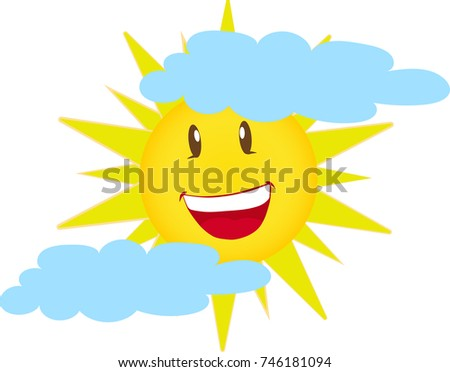 smiling sun and clouds vector isolated on the white background