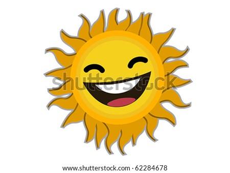Smiling  Sun Cartoon Character Illustration in Vector