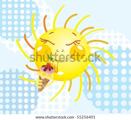 Smiling Sun eating an ice-cream