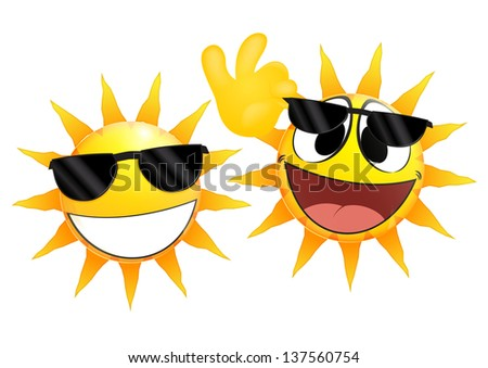 Smiling sun Emoticon holding a sunglasses