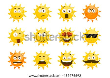 smiling sun emoticons vector